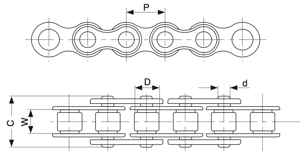 Однорядная роликовая цепь и обозначения размеров