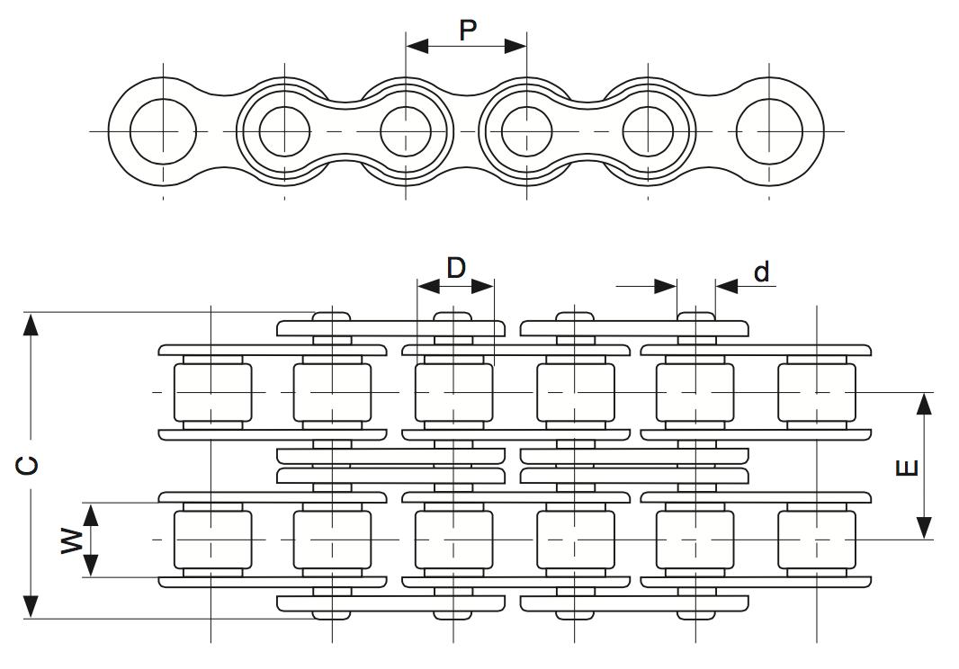 Двухрядная роликовая цепь и обозначения размеров