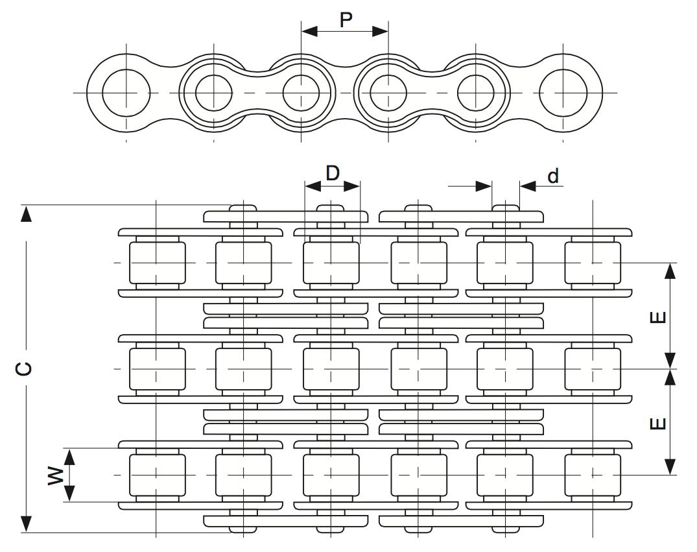 Трехрядная роликовая цепь и обозначения размеров