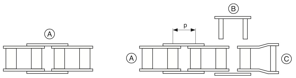 схема роликовой цепи, относится к примечанию для заказа цепи нестандартной длины