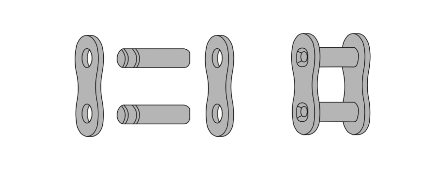 Схема роликовой цепи, шаг валиков звена