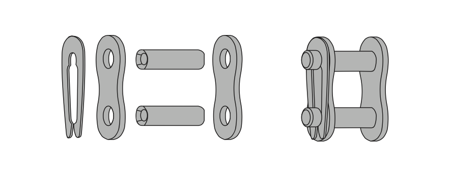 Схема соединения звеньев роликовой цепи с помощью клипсы