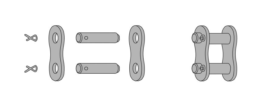 Схема соединения звеньев роликовой цепи с помощью шпонки