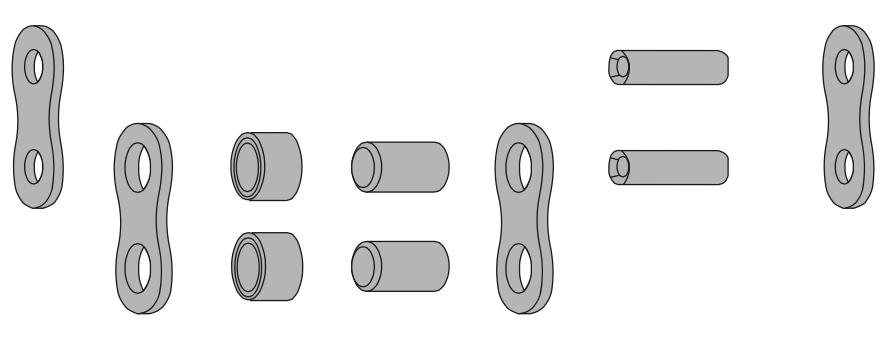 Схема наружных и внутренних пластин-звеньев, валиков и роликов со втулкой роликовой цепи