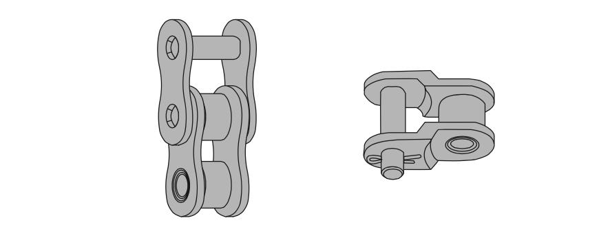 Схема отличий между многорядной и традиционной однорядной (ПР) роликовой цепью